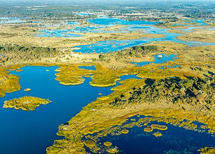Udsigt over Okavango-deltaet i Botswana